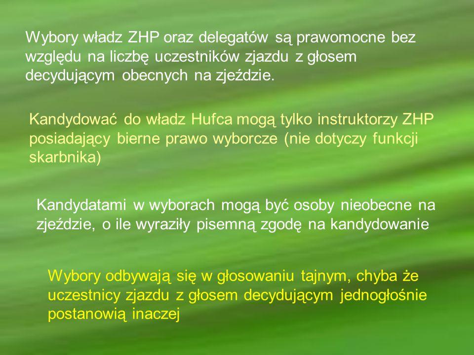 Wybory władz ZHP oraz delegatów są prawomocne bez względu na liczbę uczestników zjazdu z głosem decydującym obecnych na zjeździe. Kandydować do władz