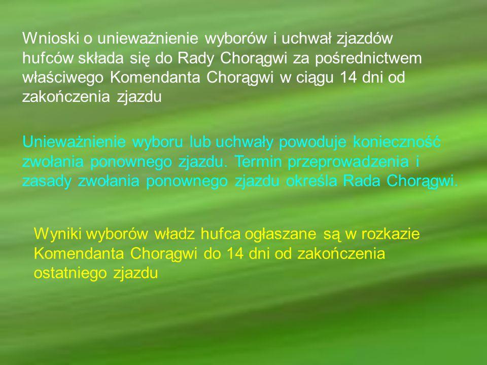 Wnioski o unieważnienie wyborów i uchwał zjazdów hufców składa się do Rady Chorągwi za pośrednictwem właściwego Komendanta Chorągwi w ciągu 14 dni od
