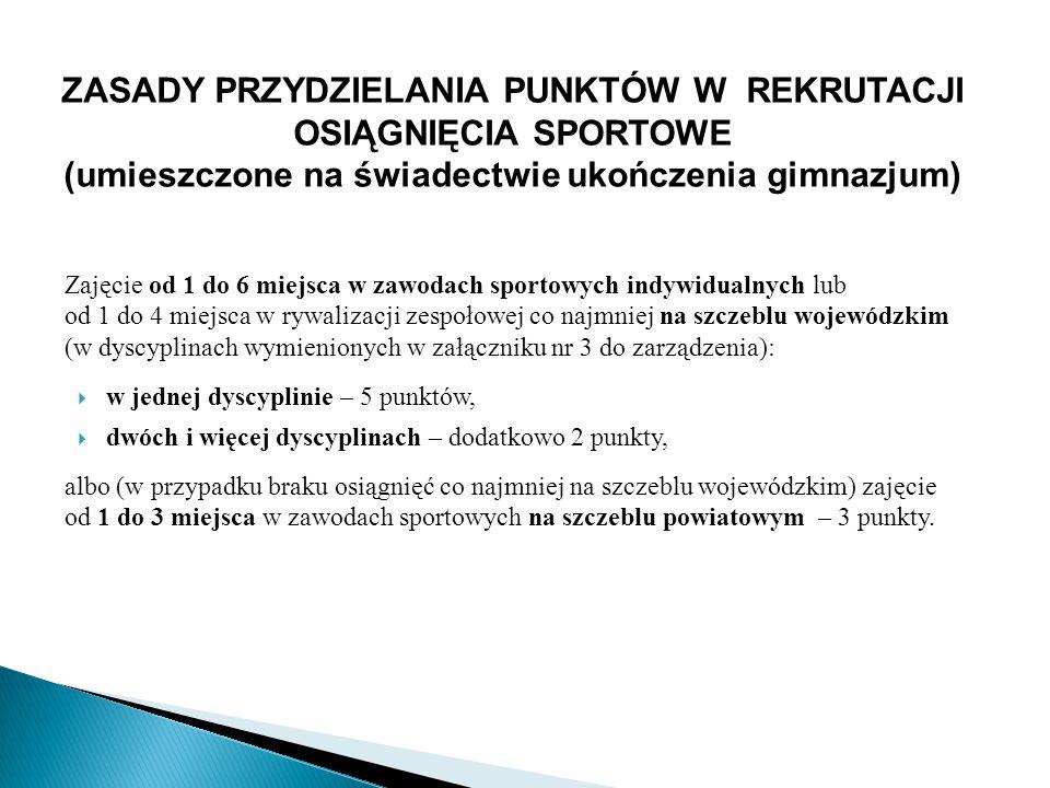 ZASADY PRZYDZIELANIA PUNKTÓW W REKRUTACJI OSIĄGNIĘCIA SPORTOWE (umieszczone na świadectwie ukończenia gimnazjum) Zajęcie od 1 do 6 miejsca w zawodach sportowych indywidualnych lub od 1 do 4 miejsca w rywalizacji zespołowej co najmniej na szczeblu wojewódzkim (w dyscyplinach wymienionych w załączniku nr 3 do zarządzenia):  w jednej dyscyplinie – 5 punktów,  dwóch i więcej dyscyplinach – dodatkowo 2 punkty, albo (w przypadku braku osiągnięć co najmniej na szczeblu wojewódzkim) zajęcie od 1 do 3 miejsca w zawodach sportowych na szczeblu powiatowym – 3 punkty.