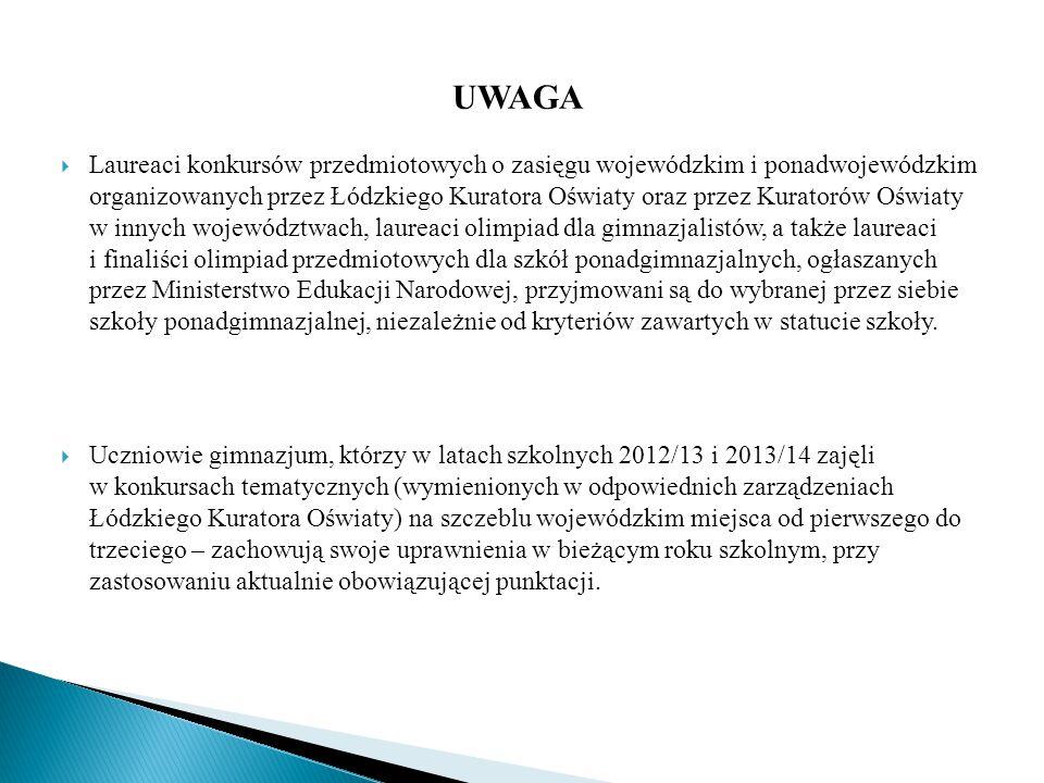 ZASADY PRZYDZIELANIA PUNKTÓW W REKRUTACJI WYNIKI EGZAMINU GIMNAZJALNEGO Wyniki egzaminu gimnazjalnego (zawarte w zaświadczeniu o szczegółowych wynikach egzaminu), wyrażone w skali procentowej dla zadań z zakresu:  języka polskiego,  historii i wiedzy o społeczeństwie,  matematyki,  przedmiotów przyrodniczych: biologii, geografii, fizyki i chemii,  języka obcego nowożytnego na poziomie podstawowym, przeliczane są na punkty według zasady, iż z każdego zakresu można uzyskać maksymalnie 20 punktów, czyli jeden procent w każdym z zakresów odpowiada 0,2 punkta.