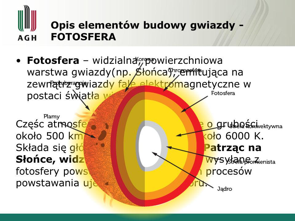 Opis elementów budowy gwiazdy – STREFA KONWEKCJI Strefa konwekcji (zwana również obszarem konwektywnym lub warstwą konwekcji) jest obszarem, w którym gorąca materia wznosi się wyżej, oddaje ciepło i po ochłodzeniu opada.