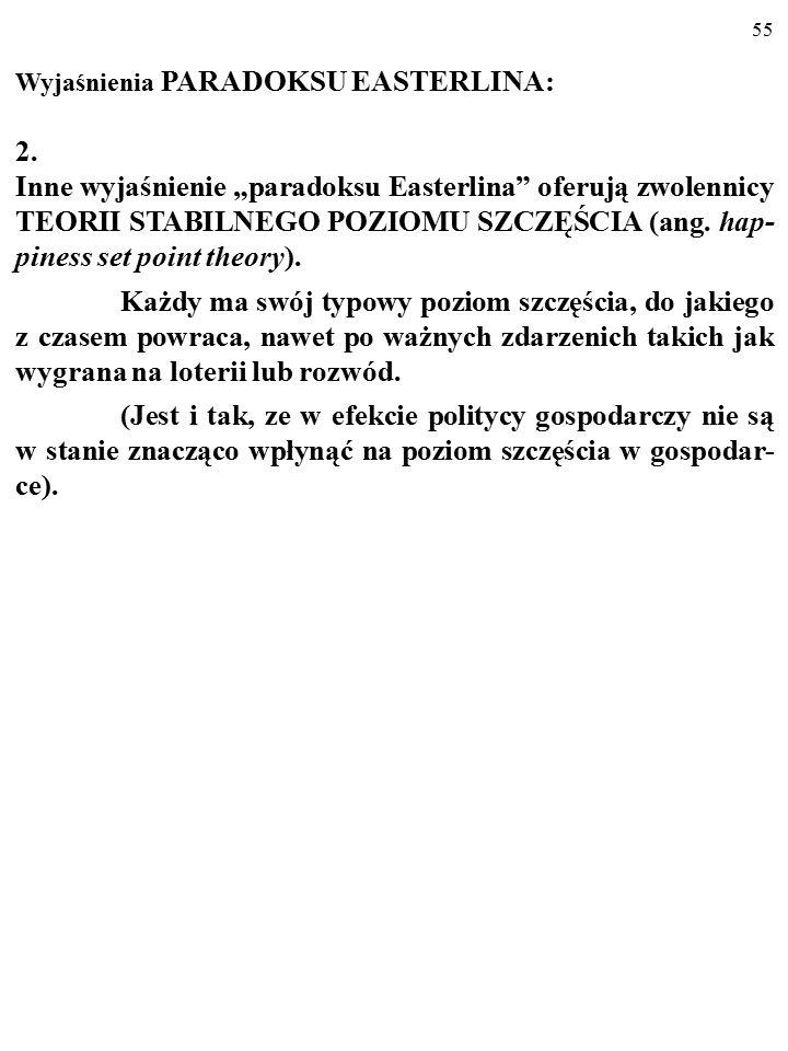 54 Wyjaśnienia PARADOKSU EASTERLINA: 1.