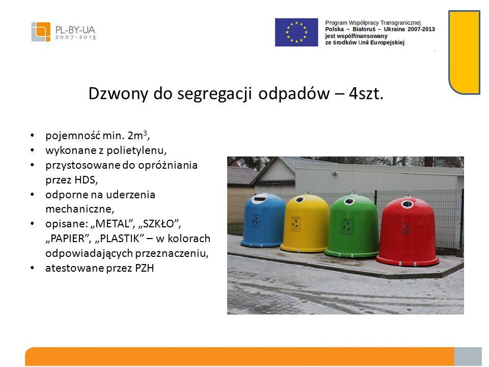 Pojemniki na odpady z tworzywa sztucznego – 25 szt. pojemność 120 litrów, wyposażone w kółka, odporne na uderzenia mechaniczne, wykonane z tworzywa sz
