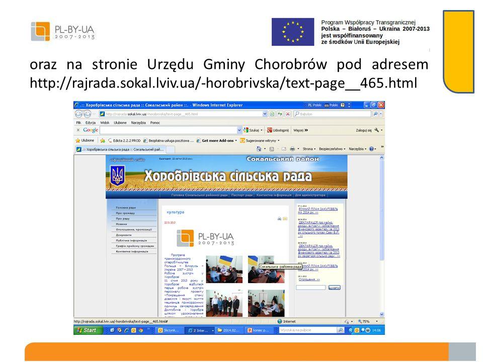 Ponadto wszystkie informacje o projekcie były publikowane na stronie Urzędu Gminy Dołhobyczów pod adresem www.dolhobyczow.pl/asp/pl_start.asp?typ=13&menu=110& strona=1