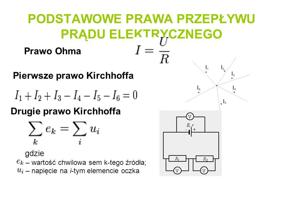 PODSTAWOWE PRAWA PRZEPŁYWU PRĄDU ELEKTRYCZNEGO Prawo Ohma Pierwsze prawo Kirchhoffa Drugie prawo Kirchhoffa gdzie – wartość chwilowa sem k-tego źródła