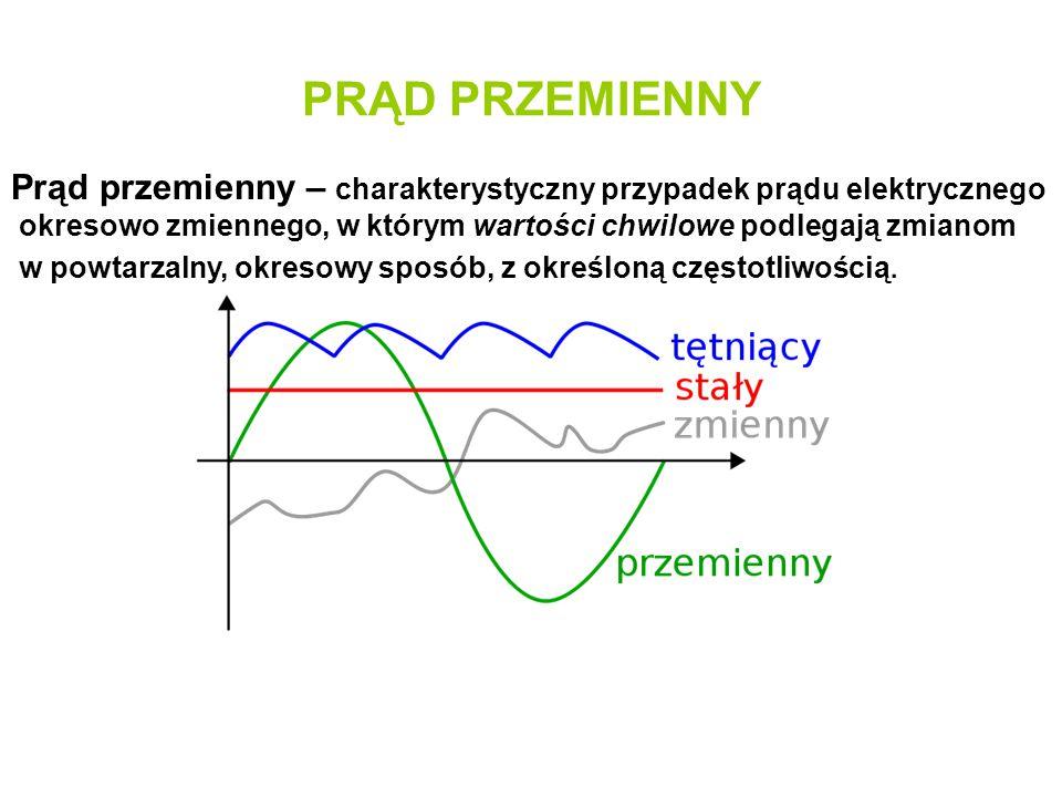 PRĄD PRZEMIENNY Prąd przemienny – charakterystyczny przypadek prądu elektrycznego okresowo zmiennego, w którym wartości chwilowe podlegają zmianom w p