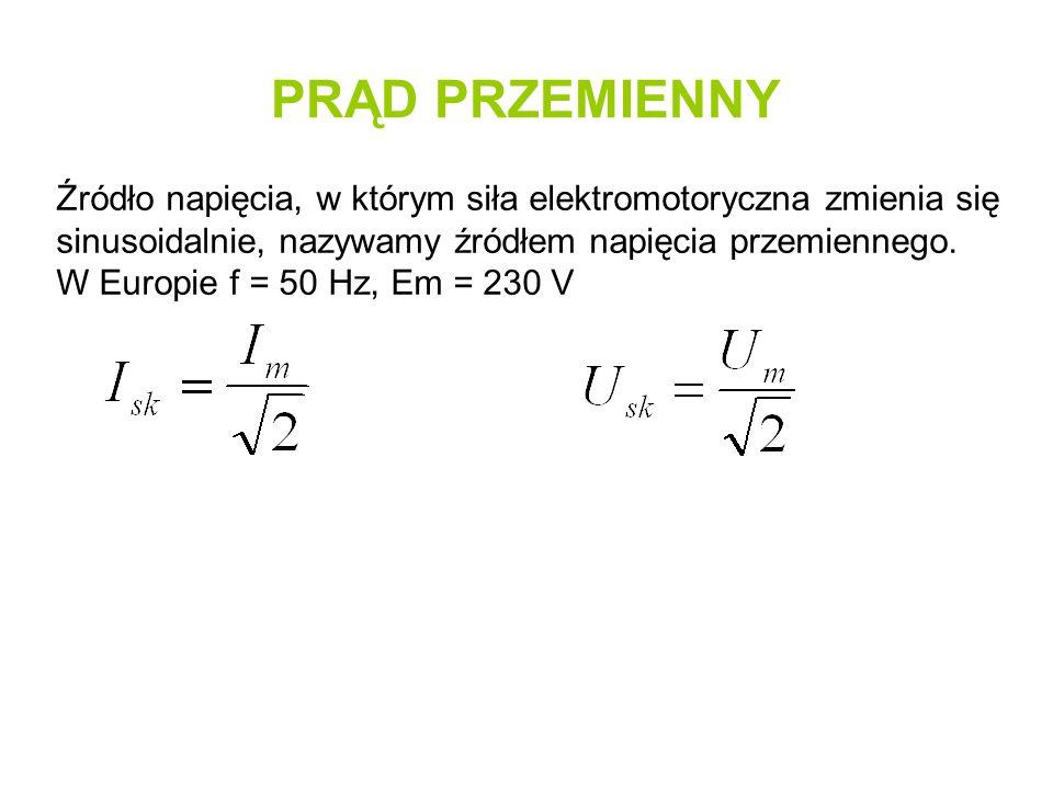 PRĄD PRZEMIENNY Źródło napięcia, w którym siła elektromotoryczna zmienia się sinusoidalnie, nazywamy źródłem napięcia przemiennego. W Europie f = 50 H