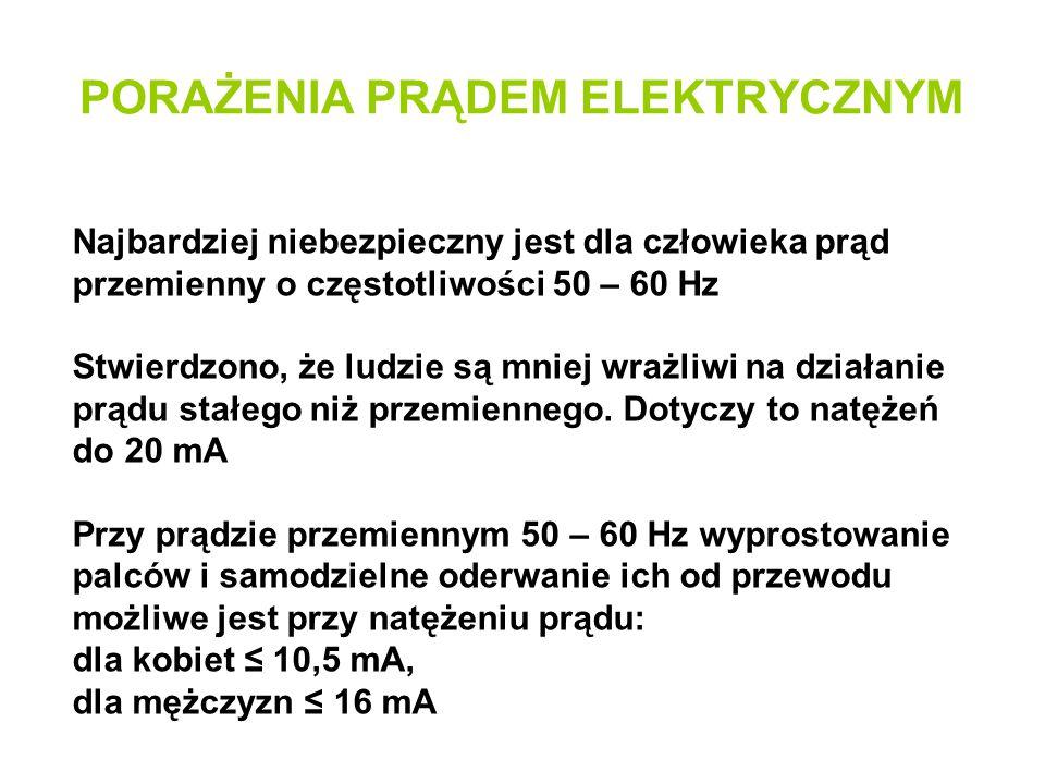 Najbardziej niebezpieczny jest dla człowieka prąd przemienny o częstotliwości 50 – 60 Hz Stwierdzono, że ludzie są mniej wrażliwi na działanie prądu s