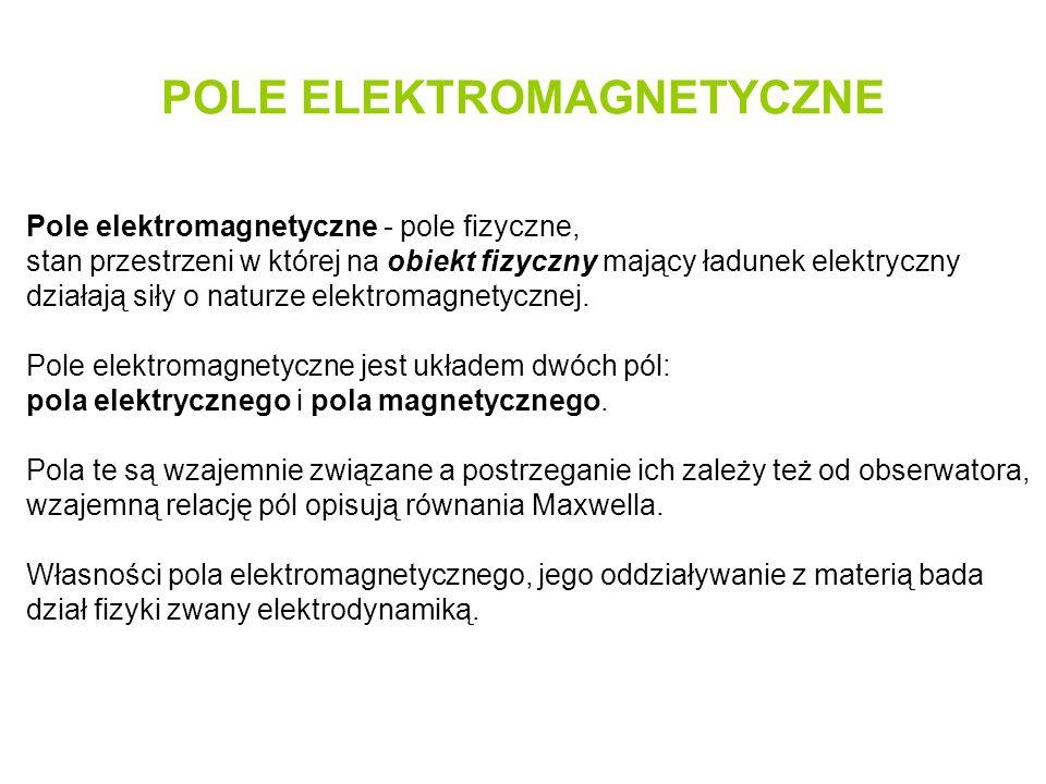 POLE ELEKTROMAGNETYCZNE Pole elektromagnetyczne - pole fizyczne, stan przestrzeni w której na obiekt fizyczny mający ładunek elektryczny działają siły