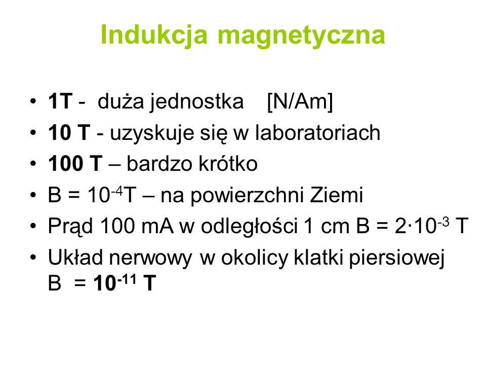 Indukcja magnetyczna 1T - duża jednostka [N/Am] 10 T - uzyskuje się w laboratoriach 100 T – bardzo krótko B = 10 -4 T – na powierzchni Ziemi Prąd 100