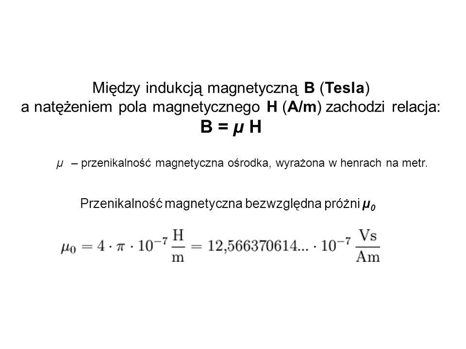 Między indukcją magnetyczną B (Tesla) a natężeniem pola magnetycznego H (A/m) zachodzi relacja: B = µ H µ – przenikalność magnetyczna ośrodka, wyrażon