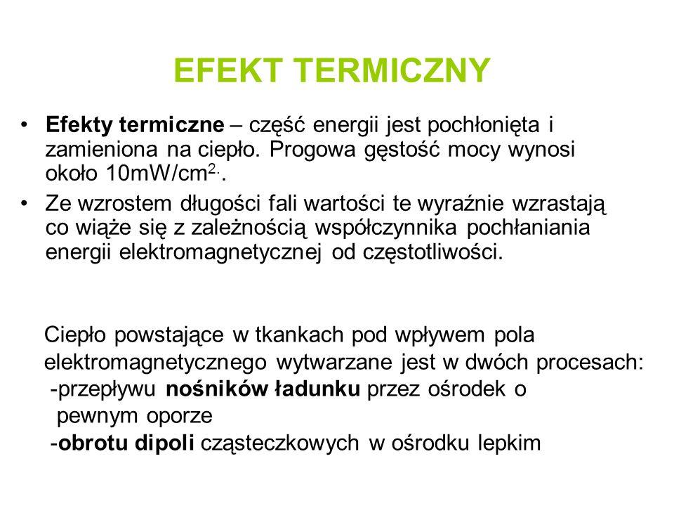EFEKT TERMICZNY Efekty termiczne – część energii jest pochłonięta i zamieniona na ciepło. Progowa gęstość mocy wynosi około 10mW/cm 2.. Ze wzrostem dł