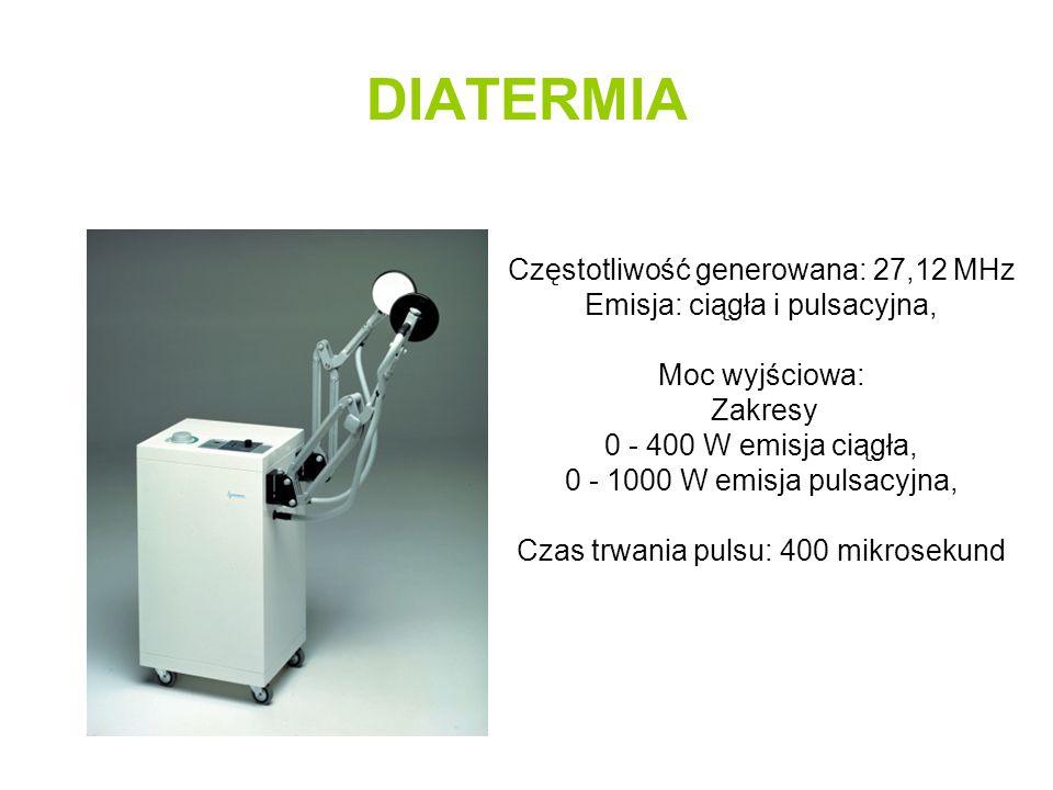 DIATERMIA Częstotliwość generowana: 27,12 MHz Emisja: ciągła i pulsacyjna, Moc wyjściowa: Zakresy 0 - 400 W emisja ciągła, 0 - 1000 W emisja pulsacyjn