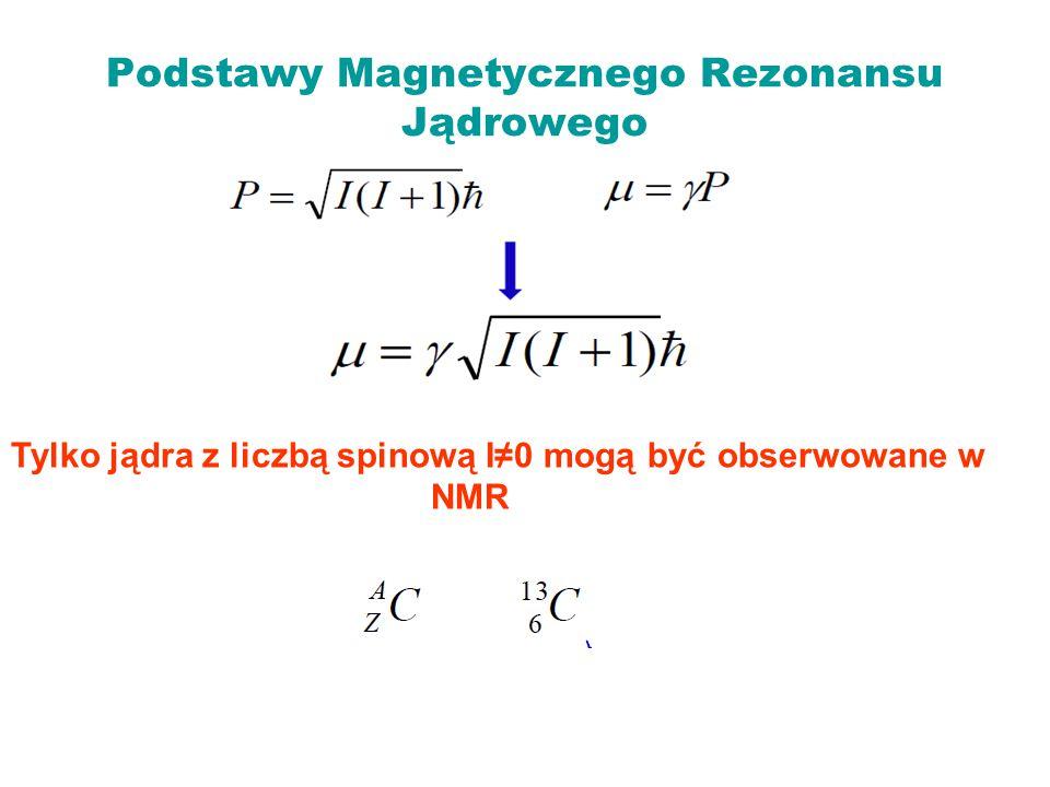 Tylko jądra z liczbą spinową I≠0 mogą być obserwowane w NMR