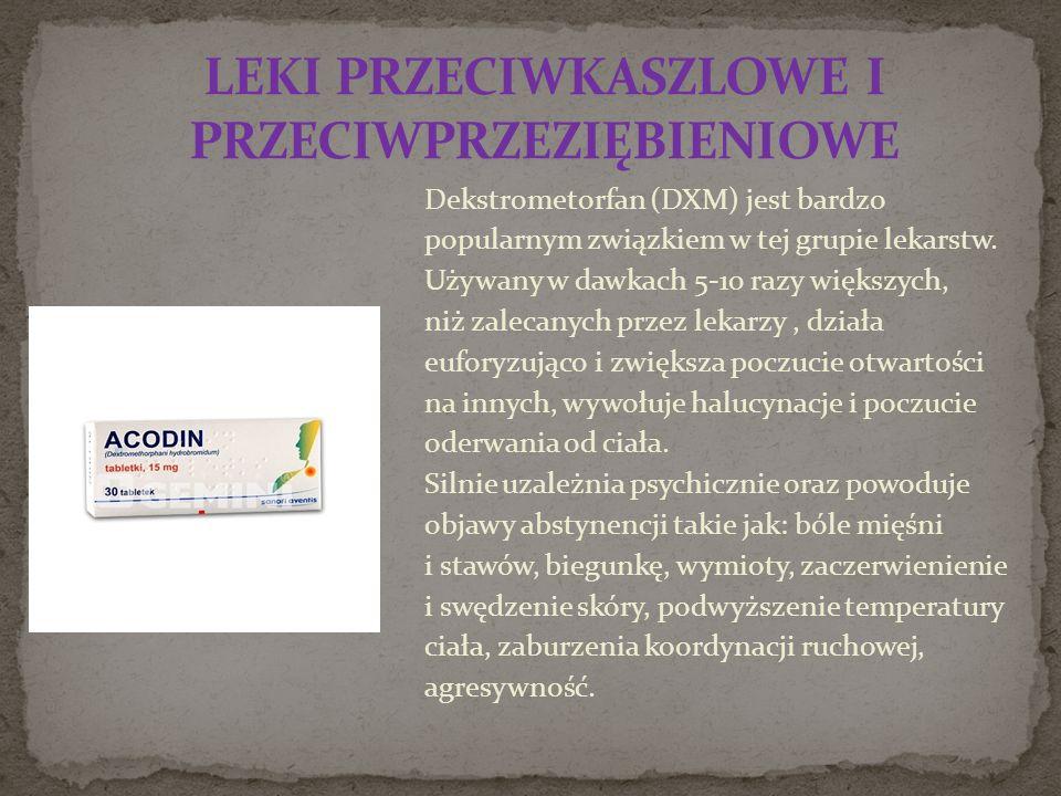 Dekstrometorfan (DXM) jest bardzo popularnym związkiem w tej grupie lekarstw.