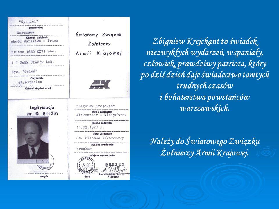 Zbigniew Krejckant to świadek niezwykłych wydarzeń, wspaniały, człowiek, prawdziwy patriota, który po dziś dzień daje świadectwo tamtych trudnych czasów i bohaterstwa powstańców warszawskich.
