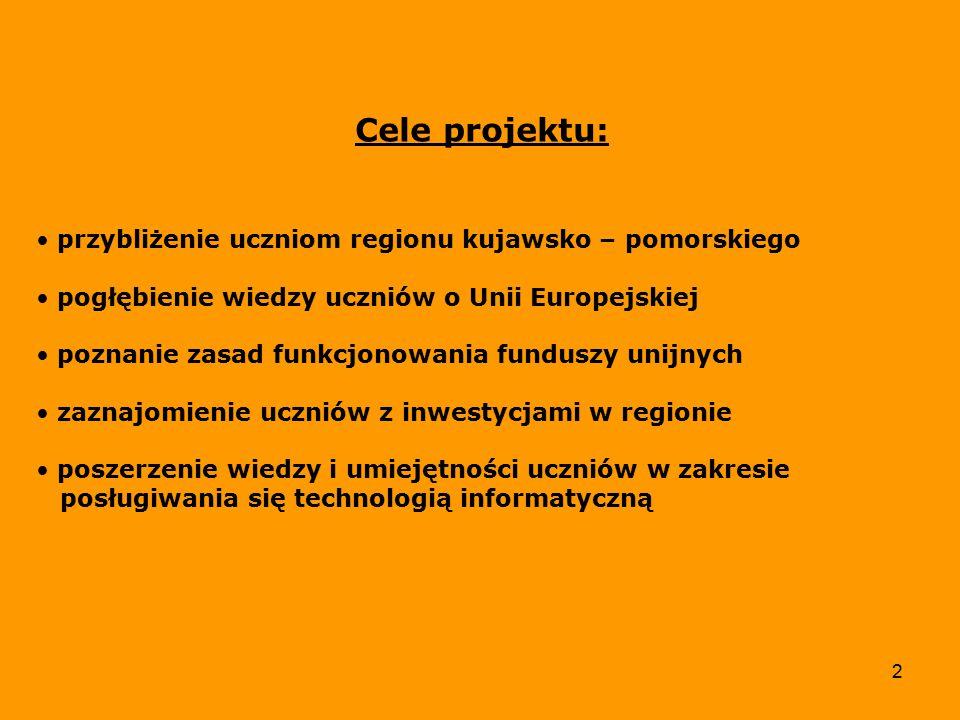 3 Krótki opis projektu: Projekt miał na celu ukazanie uczniom korzyści jakie niesie ze sobą członkostwo Polski w Unii Europejskiej.