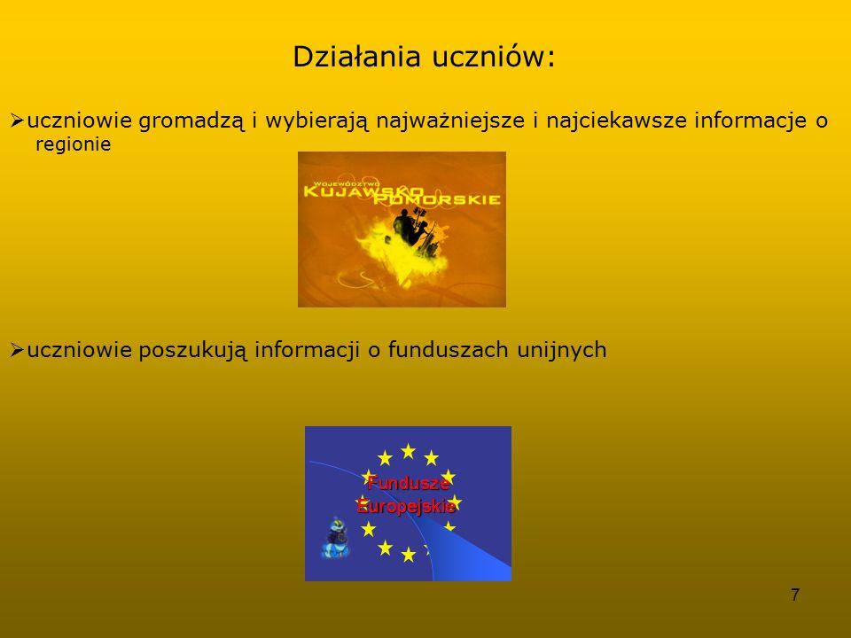8  zespoły uczestniczą w spotkaniach i imprezach dotyczących Unii Europejskiej  uczestnicy projektu wyszukują w Bydgoszczy inwestycji współfinansowanych z funduszy unijnych