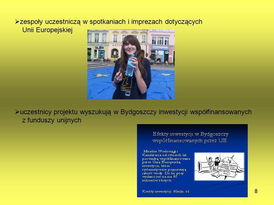 8  zespoły uczestniczą w spotkaniach i imprezach dotyczących Unii Europejskiej  uczestnicy projektu wyszukują w Bydgoszczy inwestycji współfinansowa