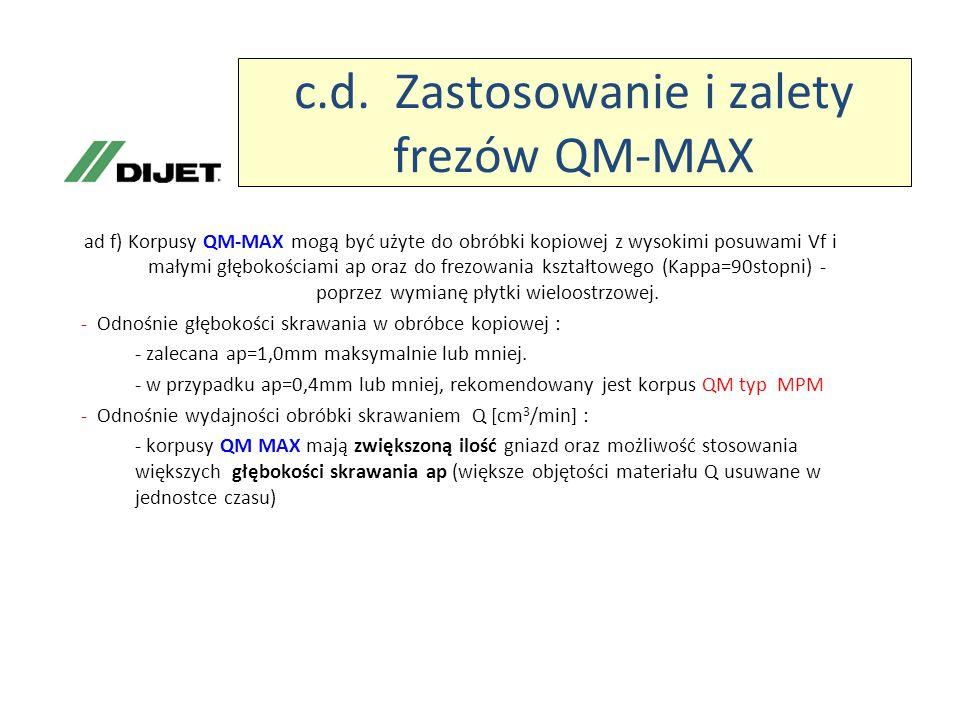 c.d. Zastosowanie i zalety frezów QM-MAX ad f) Korpusy QM-MAX mogą być użyte do obróbki kopiowej z wysokimi posuwami Vf i małymi głębokościami ap oraz