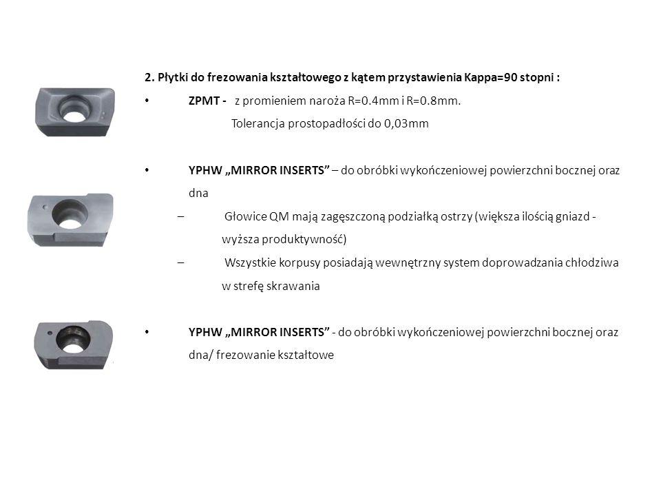 2. Płytki do frezowania kształtowego z kątem przystawienia Kappa=90 stopni : ZPMT - z promieniem naroża R=0.4mm i R=0.8mm. Tolerancja prostopadłości d