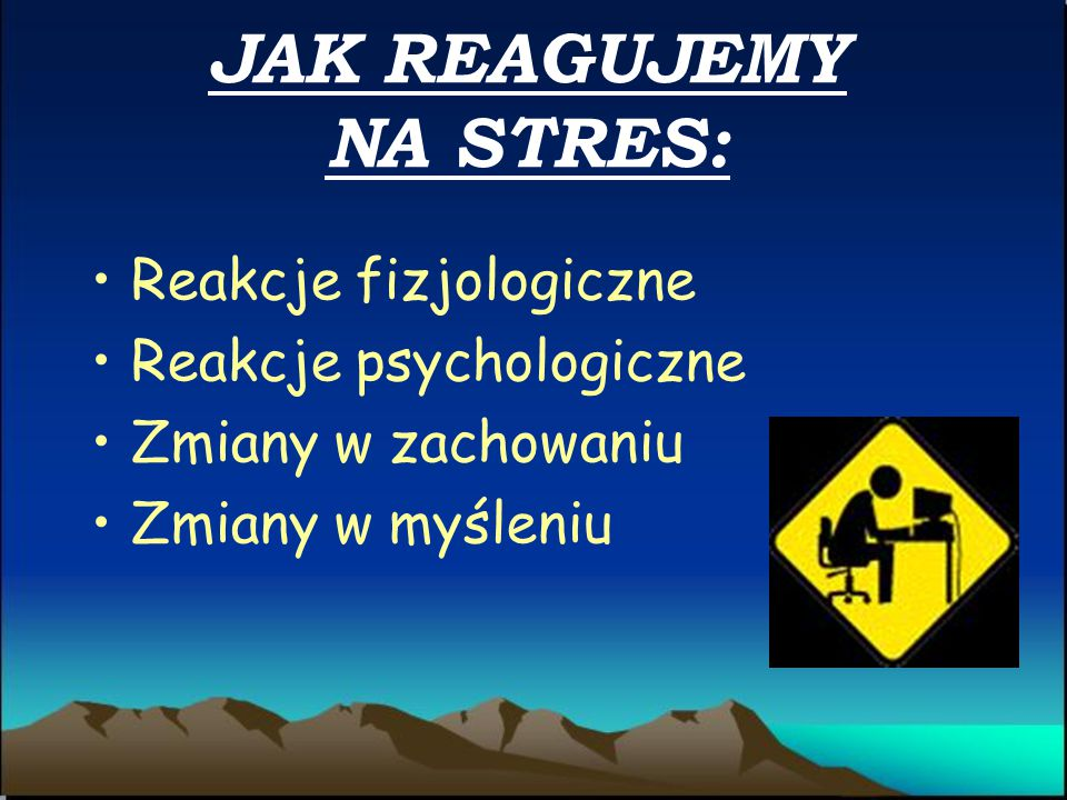 ISTNIEJE RÓWNIEŻ PODZIAŁ STRESU NA: DYSTRES- stres zły- kiedy strumień bodźców przekracza pewną granicę naszej Indywidualnej wytrzymałości. Jest to st