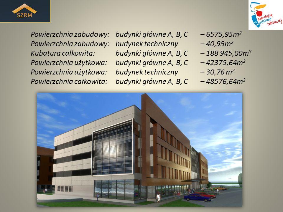 Powierzchnia zabudowy: budynki główne A, B, C – 6575,95m 2 Powierzchnia zabudowy: budynek techniczny – 40,95m 2 Kubatura całkowita: budynki główne A,