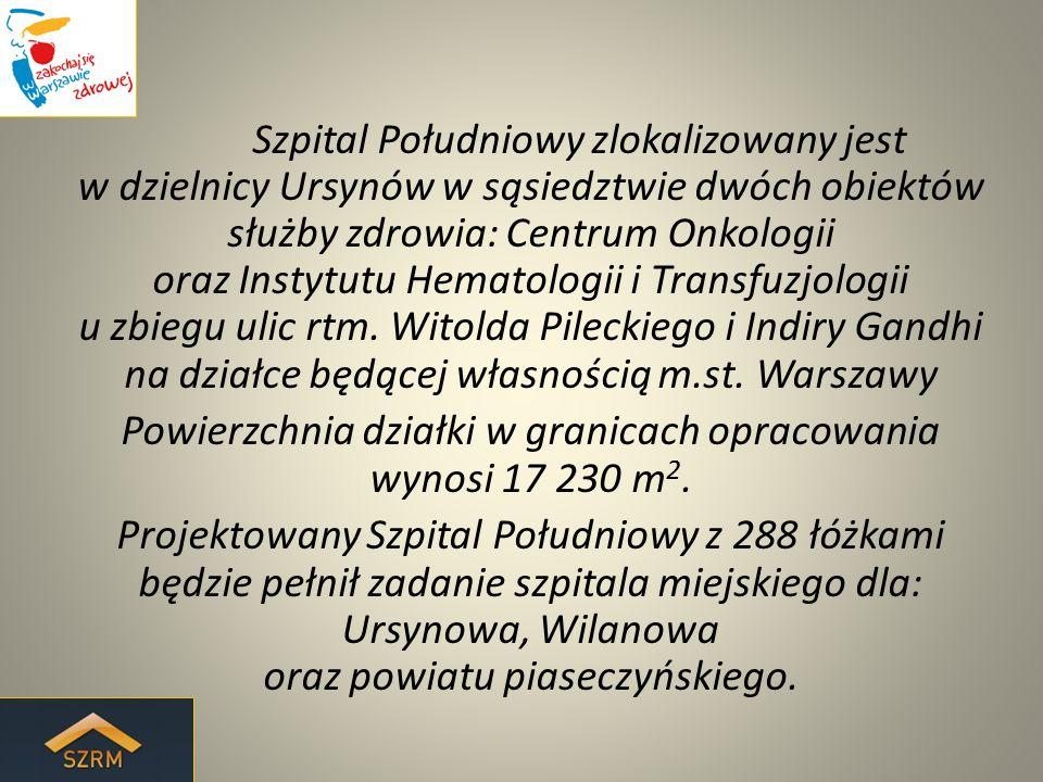 Szpital Południowy zlokalizowany jest w dzielnicy Ursynów w sąsiedztwie dwóch obiektów służby zdrowia: Centrum Onkologii oraz Instytutu Hematologii i