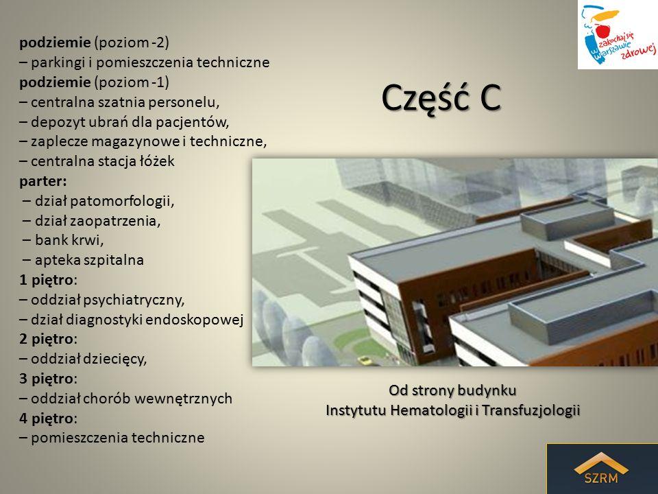 Część C podziemie (poziom -2) – parkingi i pomieszczenia techniczne podziemie (poziom -1) – centralna szatnia personelu, – depozyt ubrań dla pacjentów
