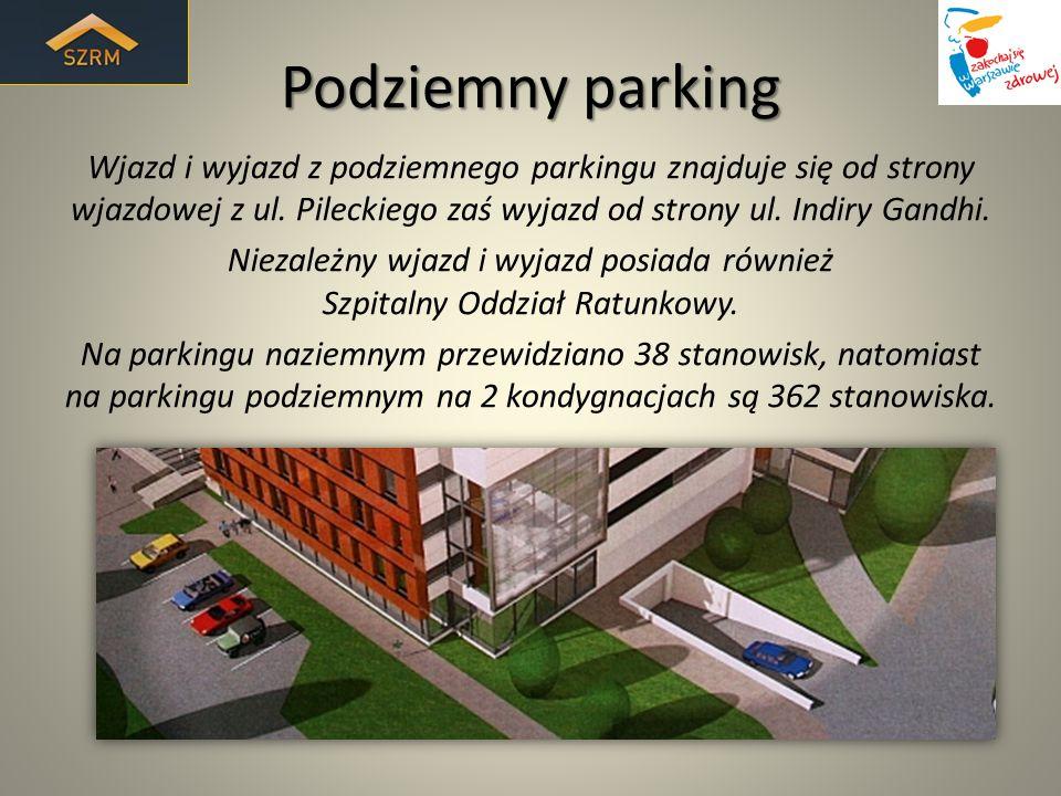 Podziemny parking Wjazd i wyjazd z podziemnego parkingu znajduje się od strony wjazdowej z ul. Pileckiego zaś wyjazd od strony ul. Indiry Gandhi. Niez