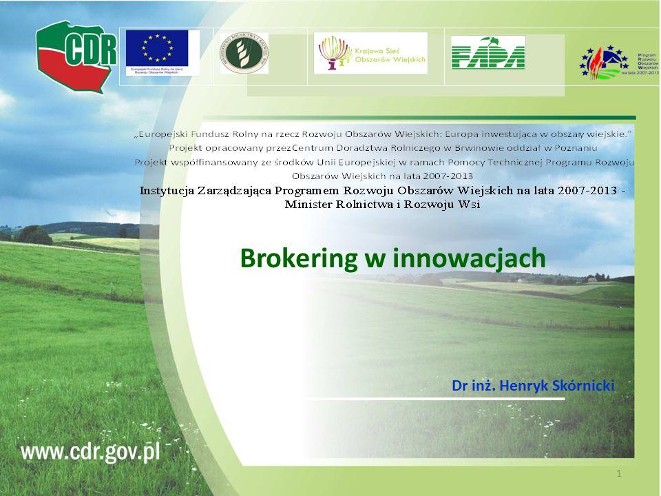 Brokering w innowacjach Dr inż. Henryk Skórnicki 1