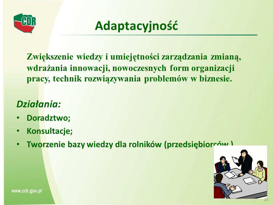Adaptacyjność Zwiększenie wiedzy i umiejętności zarządzania zmianą, wdrażania innowacji, nowoczesnych form organizacji pracy, technik rozwiązywania pr