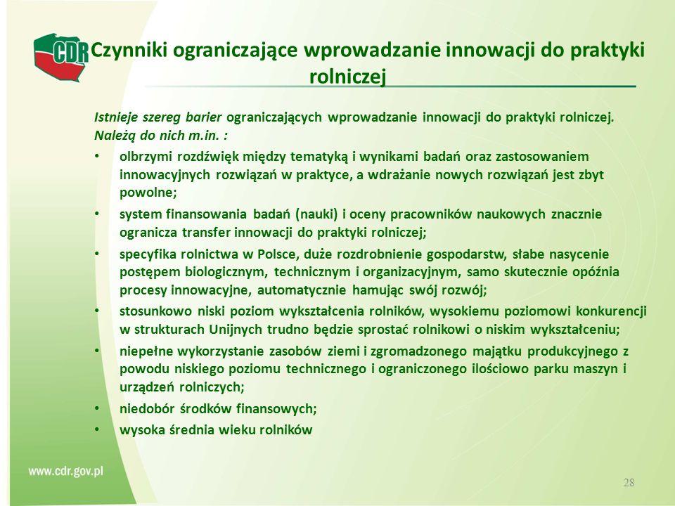 Czynniki ograniczające wprowadzanie innowacji do praktyki rolniczej Istnieje szereg barier ograniczających wprowadzanie innowacji do praktyki rolnicze