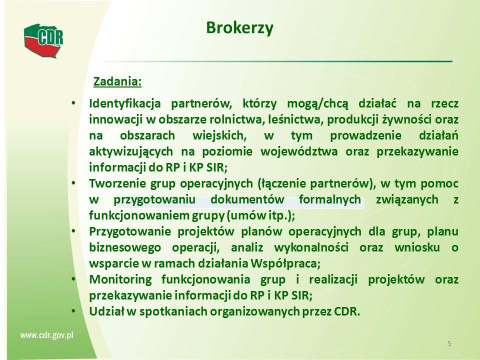 Brokerzy 5 Identyfikacja partnerów, którzy mogą/chcą działać na rzecz innowacji w obszarze rolnictwa, leśnictwa, produkcji żywności oraz na obszarach