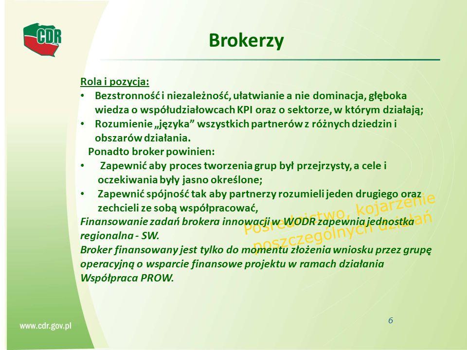 Brokerzy 6 Pośrednictwo, kojarzenie poszczególnych działań Rola i pozycja: Bezstronność i niezależność, ułatwianie a nie dominacja, głęboka wiedza o w