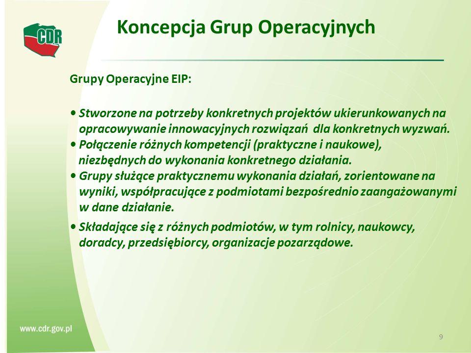 Koncepcja Grup Operacyjnych Grupy Operacyjne EIP: Stworzone na potrzeby konkretnych projektów ukierunkowanych na opracowywanie innowacyjnych rozwiązań