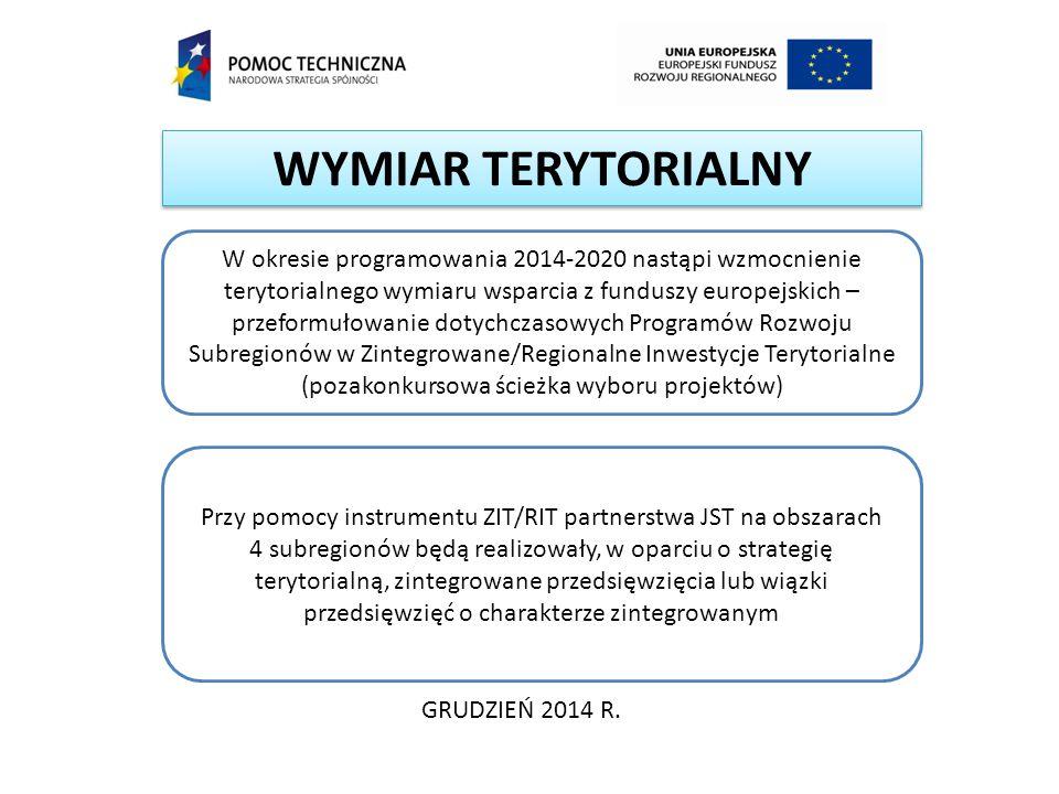 WYMIAR TERYTORIALNY GRUDZIEŃ 2014 R. W okresie programowania 2014-2020 nastąpi wzmocnienie terytorialnego wymiaru wsparcia z funduszy europejskich – p
