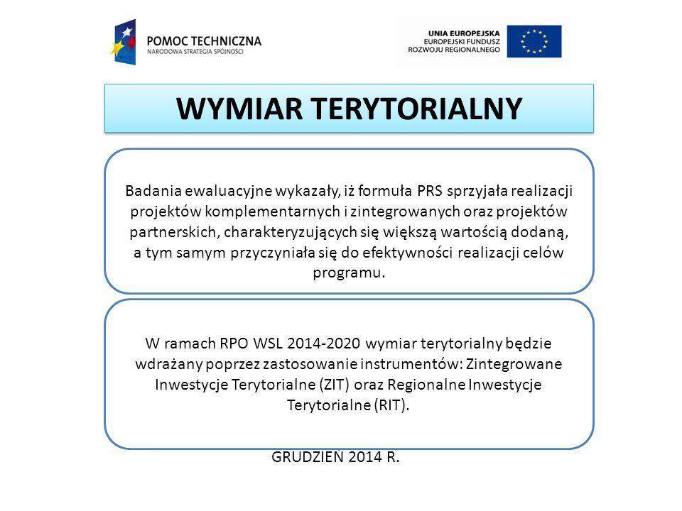 WYMIAR TERYTORIALNY GRUDZIEŃ 2014 R. Badania ewaluacyjne wykazały, iż formuła PRS sprzyjała realizacji projektów komplementarnych i zintegrowanych ora