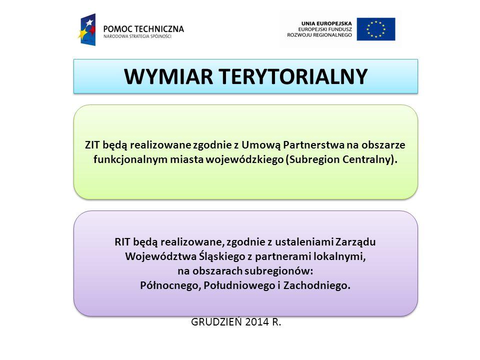 WYMIAR TERYTORIALNY GRUDZIEŃ 2014 R. ZIT będą realizowane zgodnie z Umową Partnerstwa na obszarze funkcjonalnym miasta wojewódzkiego (Subregion Centra
