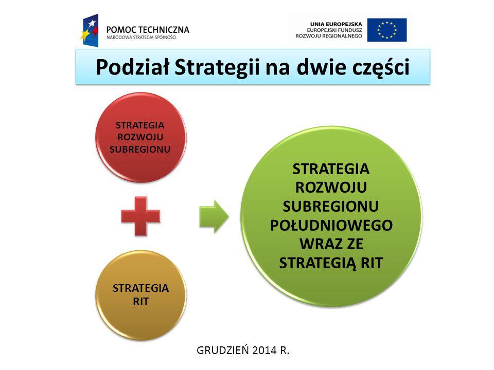 Podział Strategii na dwie części GRUDZIEŃ 2014 R. STRATEGIA ROZWOJU SUBREGIONU STRATEGIA RIT STRATEGIA ROZWOJU SUBREGIONU POŁUDNIOWEGO WRAZ ZE STRATEG
