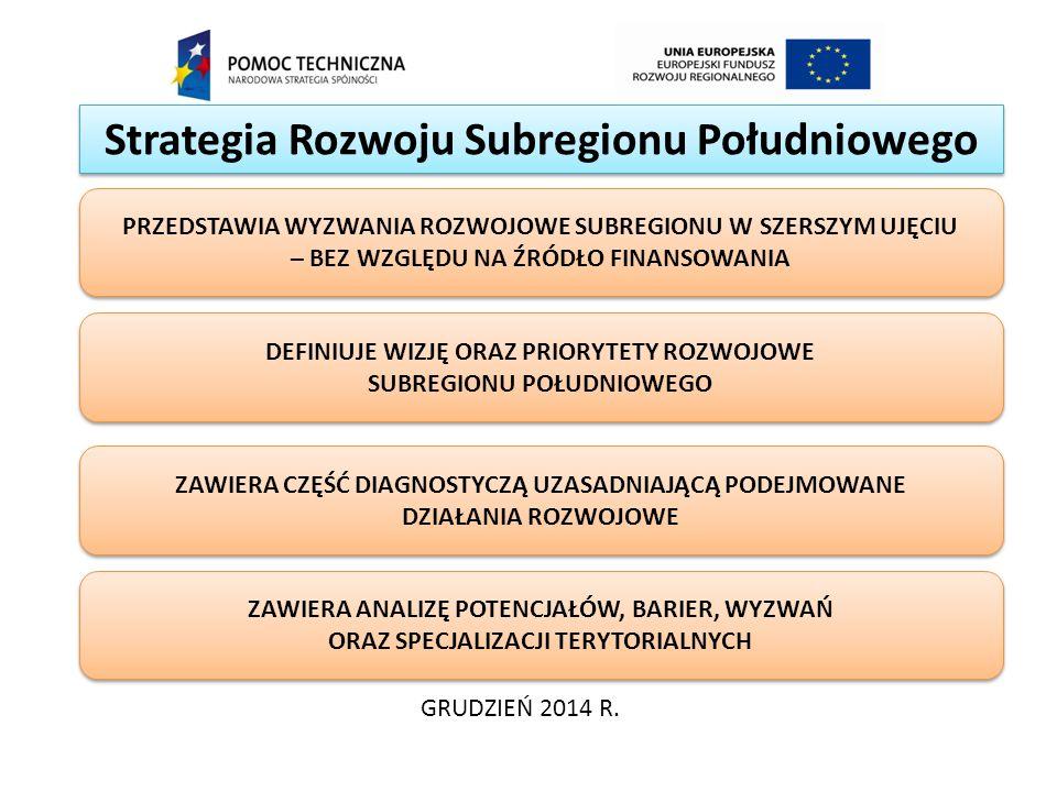 Strategia Rozwoju Subregionu Południowego GRUDZIEŃ 2014 R. DEFINIUJE WIZJĘ ORAZ PRIORYTETY ROZWOJOWE SUBREGIONU POŁUDNIOWEGO ZAWIERA CZĘŚĆ DIAGNOSTYCZ