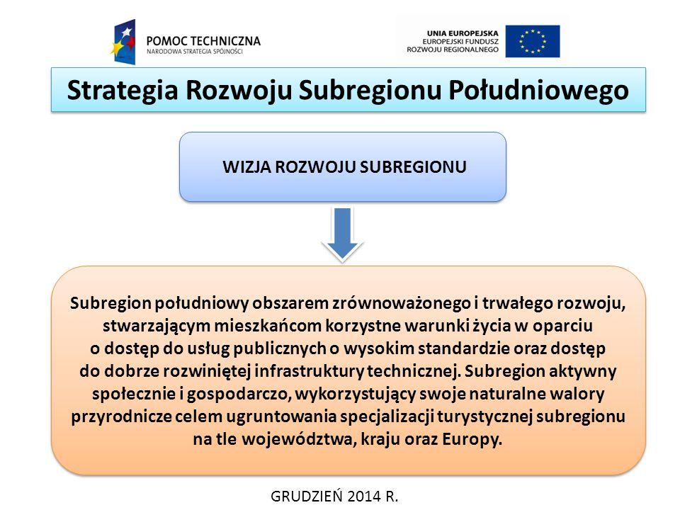 Strategia Rozwoju Subregionu Południowego GRUDZIEŃ 2014 R. Subregion południowy obszarem zrównoważonego i trwałego rozwoju, stwarzającym mieszkańcom k