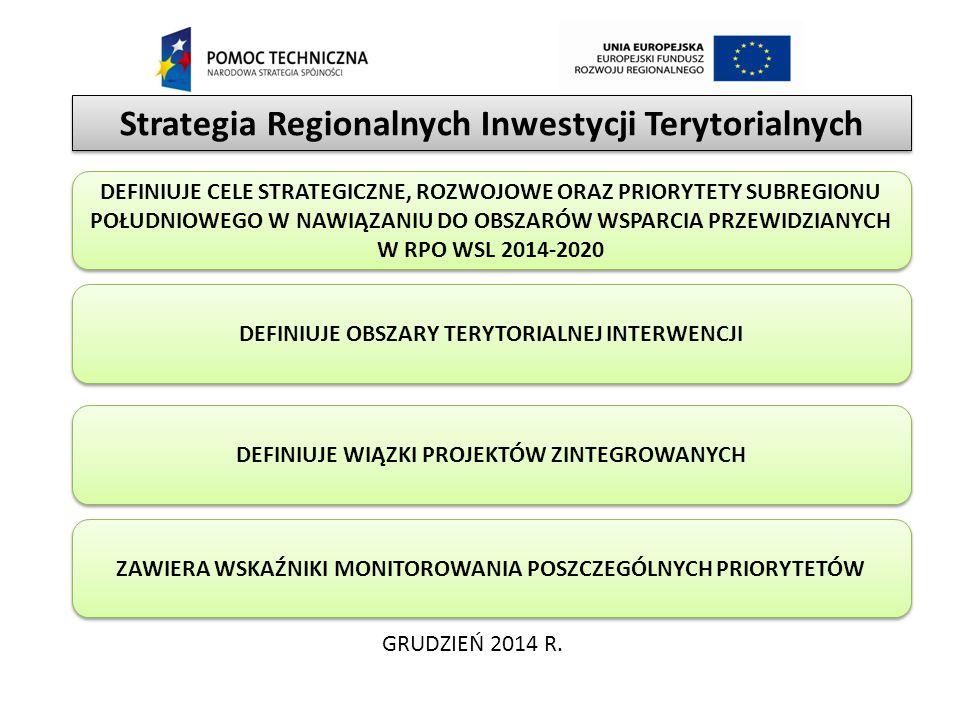 Strategia Regionalnych Inwestycji Terytorialnych GRUDZIEŃ 2014 R. DEFINIUJE OBSZARY TERYTORIALNEJ INTERWENCJI DEFINIUJE WIĄZKI PROJEKTÓW ZINTEGROWANYC