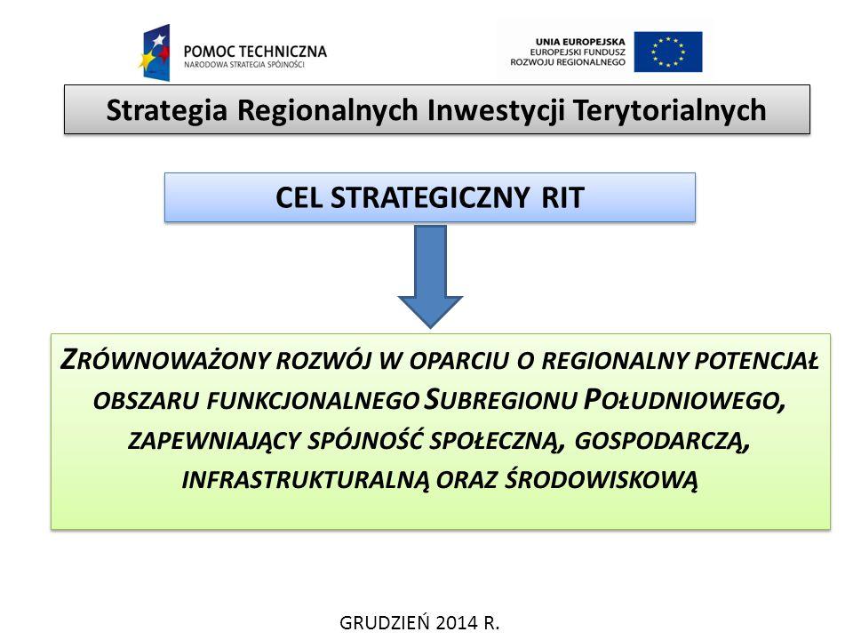 GRUDZIEŃ 2014 R. Strategia Regionalnych Inwestycji Terytorialnych CEL STRATEGICZNY RIT Z RÓWNOWAŻONY ROZWÓJ W OPARCIU O REGIONALNY POTENCJAŁ OBSZARU F