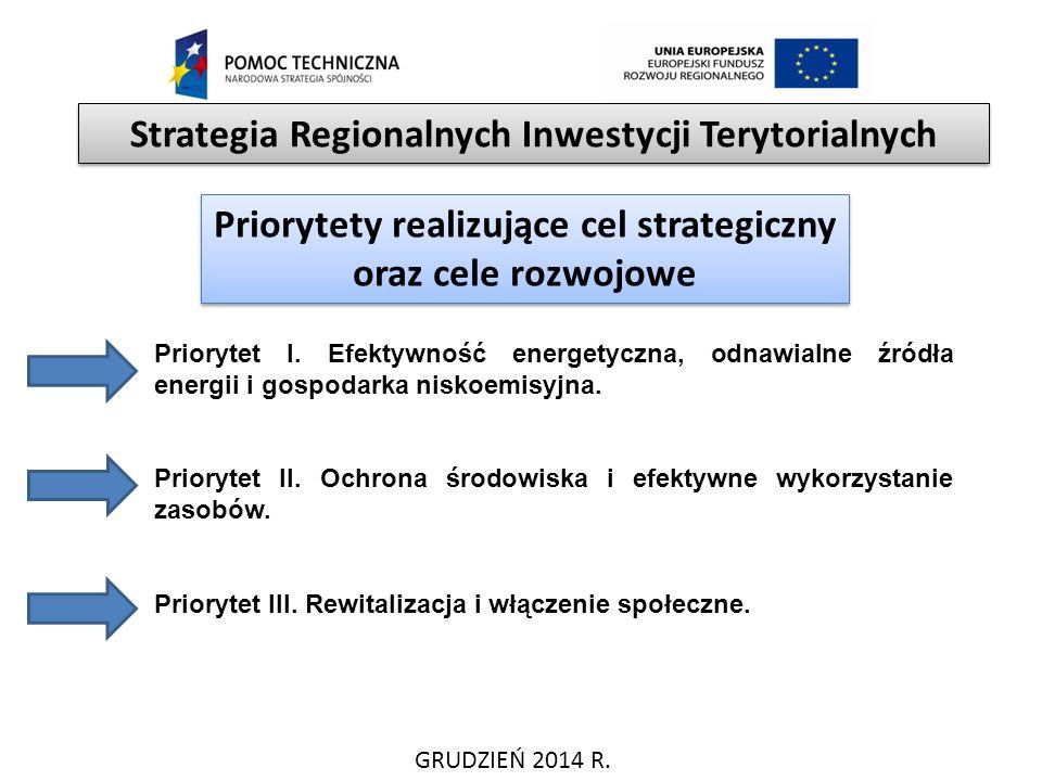 GRUDZIEŃ 2014 R. Strategia Regionalnych Inwestycji Terytorialnych Priorytety realizujące cel strategiczny oraz cele rozwojowe Priorytet I. Efektywność
