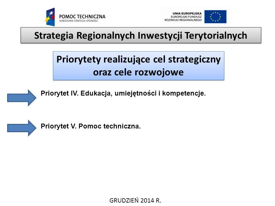 GRUDZIEŃ 2014 R. Strategia Regionalnych Inwestycji Terytorialnych Priorytety realizujące cel strategiczny oraz cele rozwojowe Priorytet IV. Edukacja,