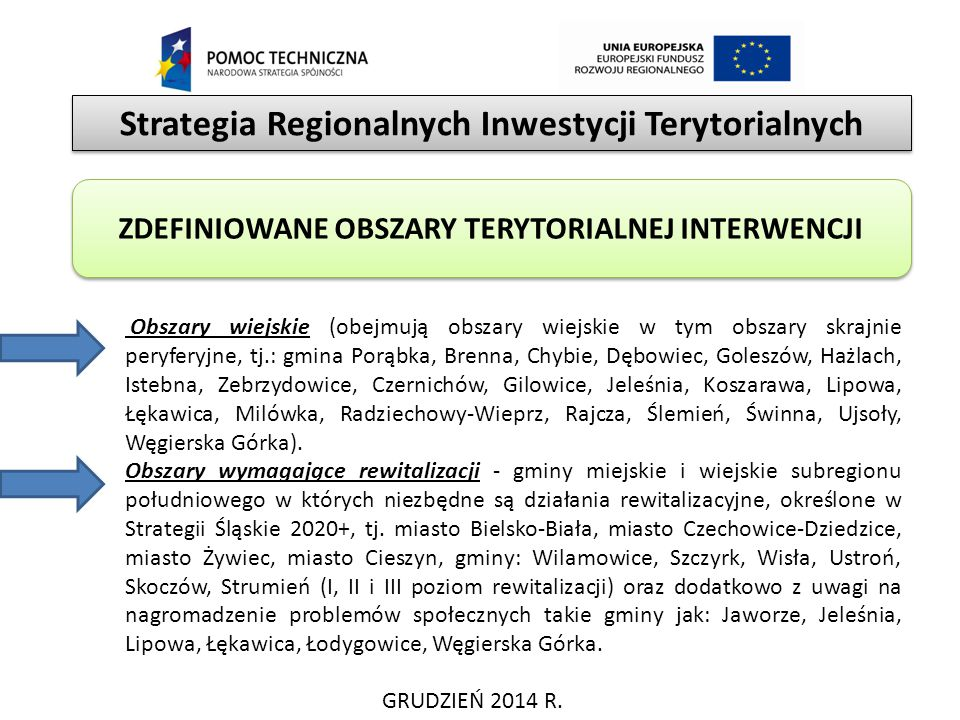 Strategia Regionalnych Inwestycji Terytorialnych GRUDZIEŃ 2014 R. ZDEFINIOWANE OBSZARY TERYTORIALNEJ INTERWENCJI Obszary wiejskie (obejmują obszary wi
