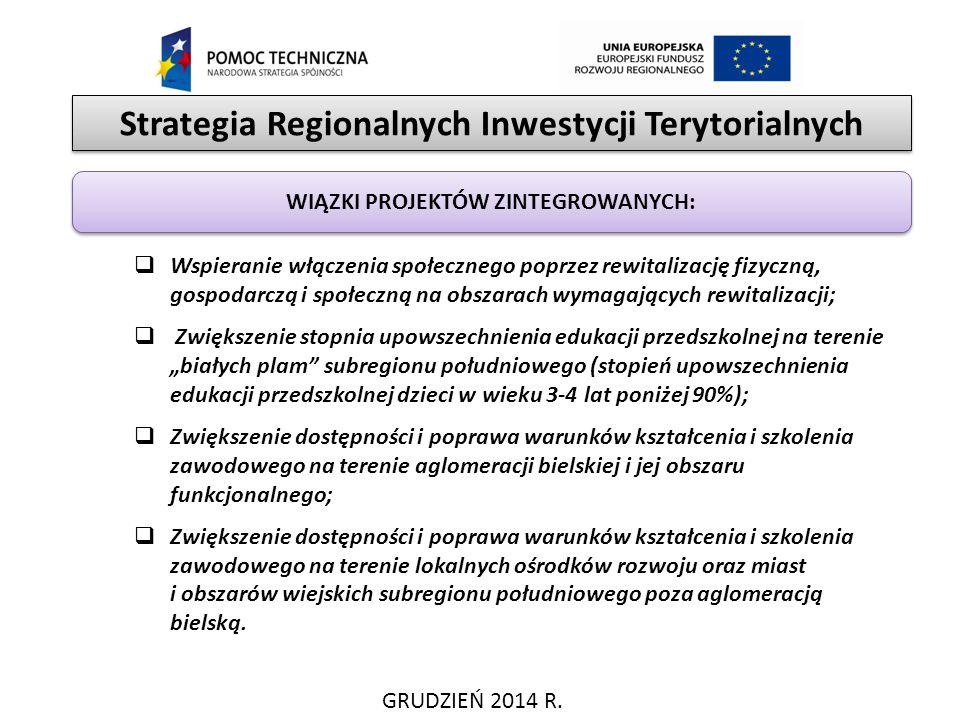 Strategia Regionalnych Inwestycji Terytorialnych GRUDZIEŃ 2014 R. WIĄZKI PROJEKTÓW ZINTEGROWANYCH:  Wspieranie włączenia społecznego poprzez rewitali