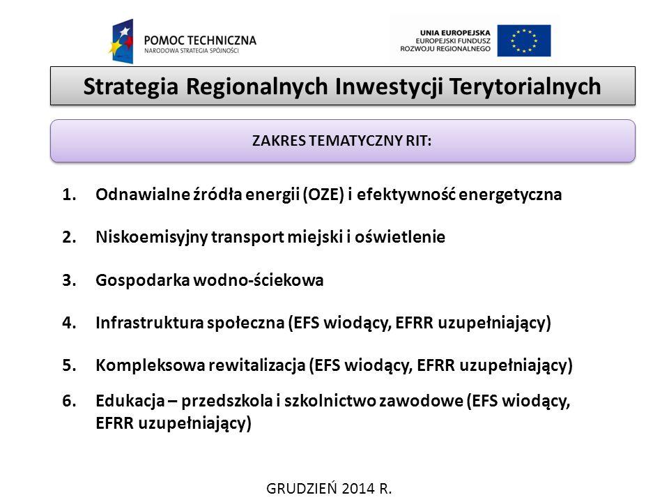 Strategia Regionalnych Inwestycji Terytorialnych GRUDZIEŃ 2014 R. ZAKRES TEMATYCZNY RIT: 1.Odnawialne źródła energii (OZE) i efektywność energetyczna