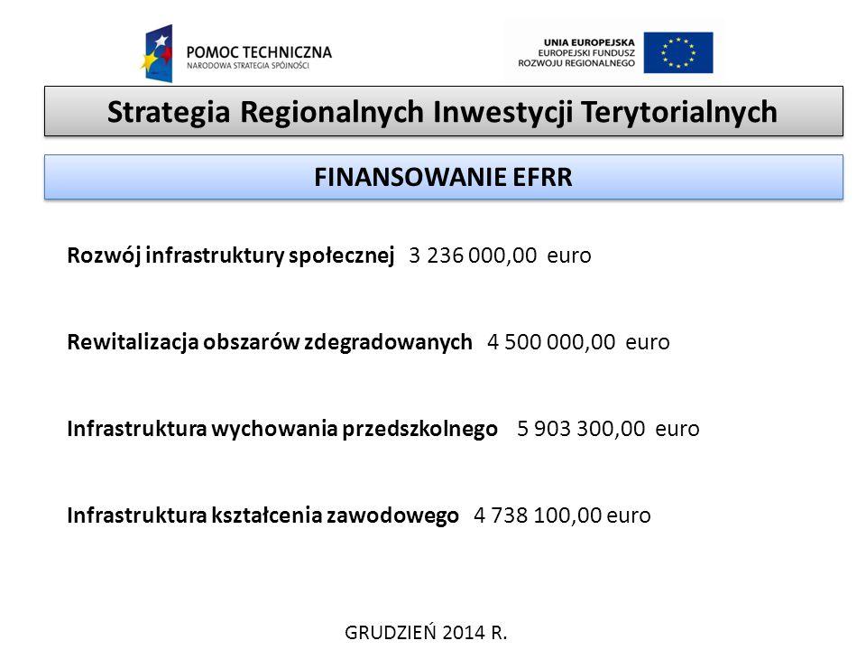 Strategia Regionalnych Inwestycji Terytorialnych GRUDZIEŃ 2014 R. FINANSOWANIE EFRR Rozwój infrastruktury społecznej 3 236 000,00 euro Rewitalizacja o